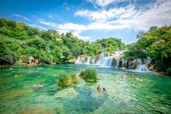 Parque nacional de Krka con las cascadas Imagen de archivo libre de regalías