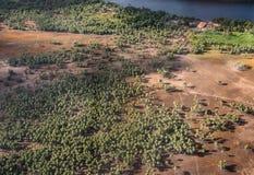 Parque nacional de Lencois Maranhenses, Brasil de um avião Imagens de Stock