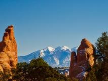 Parque nacional de los arcos en invierno Imagen de archivo