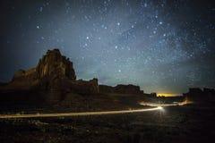 Parque nacional de los arcos en la noche Fotografía de archivo