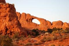 Parque nacional de los arcos en la puesta del sol Foto de archivo