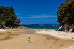 Parque nacional de oro de Abel Tasman de la playa Imágenes de archivo libres de regalías