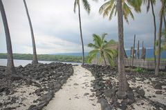 Parque nacional de Pu'uhonua O Honaunau en la isla grande, Hawaii foto de archivo libre de regalías