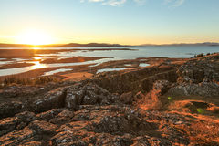 Parque nacional de Thingvellir, excursão dourada do círculo, em Islândia Fotografia de Stock