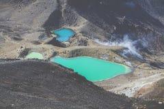 Parque nacional de Tongariro de los lagos esmeralda, Nueva Zelandia Foto de archivo libre de regalías
