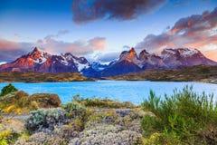 Parque nacional de Torres del Paine, Chile foto de archivo
