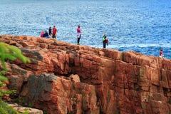 Parque nacional de visita do Acadia Fotos de Stock Royalty Free