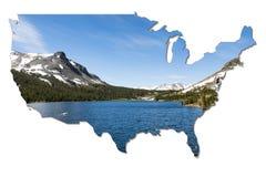 Parque nacional de Yosemite en la forma de los E.E.U.U. fotos de archivo libres de regalías