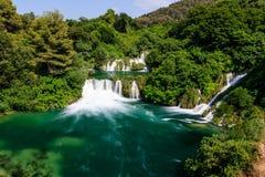 Parque nacional Krka e cascata das cachoeiras Fotos de Stock Royalty Free