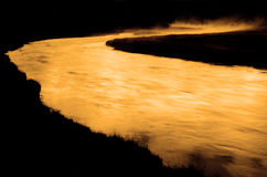 Parque nacional Madison River de Yellowstone en madrugada Fotografía de archivo