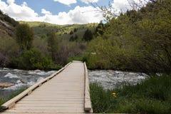 Parque nacional magnífico Estados Unidos de Teton del puente imagenes de archivo