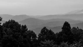 Parque nacional nevoento de Great Smoky Mountains em preto e branco imagem de stock