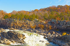 Parque nacional no outono, Virgínia EUA de Great Falls Fotos de Stock