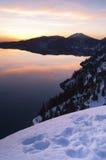Parque nacional Oregon EUA ocidentais do Caldera do lago crater do nascer do sol imagem de stock