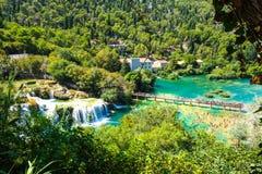 Parque nacional popular de Krka durante vacaciones de verano ocupadas en Croacia 25 08 2016 Foto de archivo