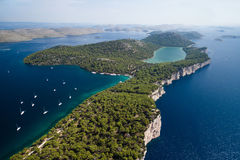 Parque natural de Telascica e lago Slano na Croácia Fotografia de Stock