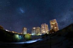 Parque natural de Vacaresti na noite, Romênia Fotografia de Stock