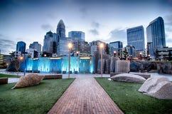 Parque novo de Romare-Bearden no conde da parte alta da cidade de Charlotte North Carolina Fotos de Stock Royalty Free