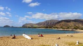 Parque Oahu HAWAII los E.E.U.U. de la playa de la bahía de Pokai imágenes de archivo libres de regalías