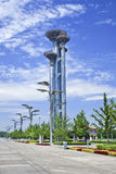 Parque olímpico de la torre de observación bajo construcción, Pekín, China Foto de archivo libre de regalías