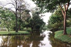 Parque público con el campo de hierba verde Foto de archivo