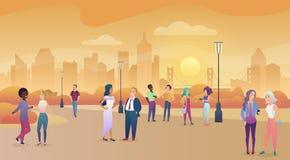 Parque público da cidade no por do sol Uma comunicação dos povos, ilustração enjoing do vetor do tempo ilustração royalty free