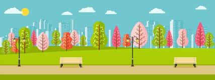 Parque público da mola com as árvores cor-de-rosa, vermelhas, verdes ilustração royalty free