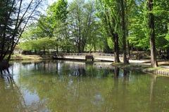 Parque público em Vigevano, Itália fotografia de stock