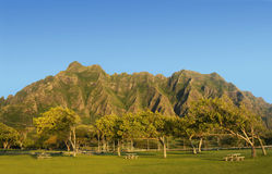 Parque regional de la playa de Kualoa, Hawaii Fotos de archivo libres de regalías