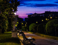 Parque som är stor i Zaragoza på natten Arkivfoton