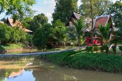 Parque tropical con el puente de cuerda largo de madera Foto de archivo