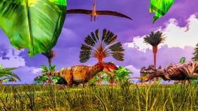 Parque tropical del dinosaurio Foto de archivo libre de regalías