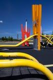 Parque urbano colorido de Copenhaga do campo de jogos foto de stock