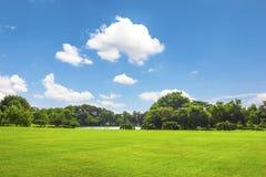 Parque verde al aire libre con la nube del cielo azul Fotografía de archivo libre de regalías