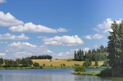 Parque verde con el lago Imágenes de archivo libres de regalías