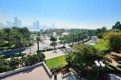 Parque verde con las palmeras en el fondo de rascacielos Fotos de archivo libres de regalías