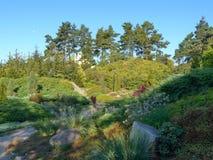 Parque verde con una trayectoria que va entre las camas de flor con las flores magníficas y las piedras grandes que mienten en el imagen de archivo libre de regalías