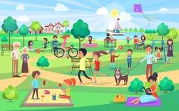 Parque verde grande con la gente de todas las edades en Niza día stock de ilustración
