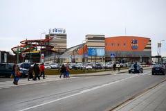 Parque Vichy da atração da água na cidade de Vilnius fotos de stock