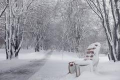 Parque y bancos nevados del invierno Parque y embarcadero para alimentar imagen de archivo