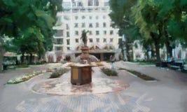 Parque y calles de la ciudad con los monumentos, Imagenes de archivo