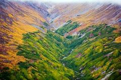 Parque y reserva nacional de Kluane, valle y opiniones de Montainsde Foto de archivo libre de regalías