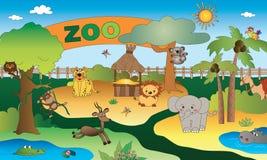 Parque zoológico con el animal stock de ilustración