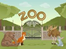 Parque zoológico con los animales de la historieta ilustración del vector