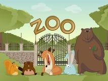 Parque zoológico con los animales del bosque stock de ilustración