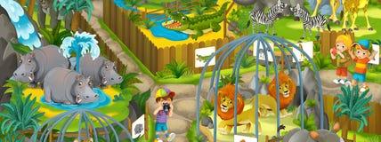 Parque zoológico de la historieta - parque de atracciones - ejemplo para los niños stock de ilustración