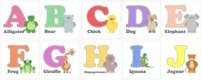 Parque zoológico del alfabeto, animales divertidos de la felpa Letras del alfabeto inglés de ilustración del vector