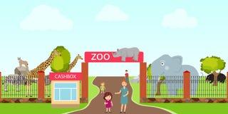 Parque zoológico, entrada al parque zoológico, animales en el parque zoológico Un elefante, un hipopótamo, una jirafa, un rinocer libre illustration