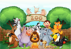 Parque zoológico y animales stock de ilustración
