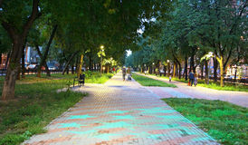 Parque Zvezdinka da cidade com nivelamento de estrelas azuis Imagem de Stock Royalty Free